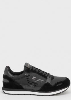 Черные кроссовки Emporio Armani с орлом, фото
