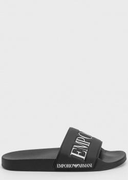 Черные шлепанцы Emporio Armani с надписью, фото