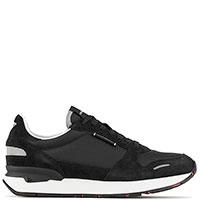 Черные кроссовки Emporio Armani с замшевыми вставками, фото