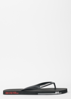 Мужские сланцы Dsquared2 черного цвета, фото