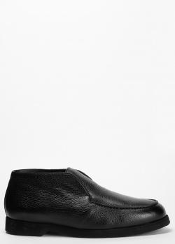 Черные ботинки на меху Pellettieri di Parma из фактурной кожи, фото