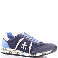 Кроссовки Premiata синего цвета с принтом на подошве, фото