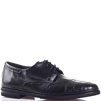 Черные дерби Gianfranco Butteri с фактурной вставкой на носке, фото