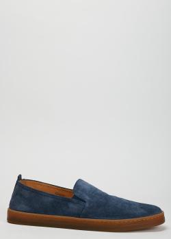 Замшевые слипоны Henderson Baracco синего цвета, фото