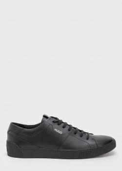 Кожаные кроссовки Hugo Boss Hugo черного цвета, фото