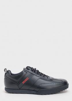 Кожаные кроссовки Hugo Boss Hugo с фирменной надписью, фото