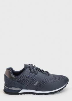 Текстильные кроссовки Hugo Boss синего цвета, фото