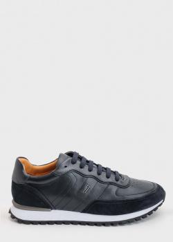 Темно-синие кроссовки Hugo Boss из гладкой кожи, фото