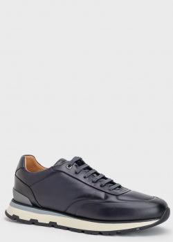 Кожаные кроссовки Hugo Boss Arigon темно-синего цвета, фото