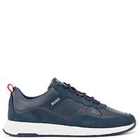 Синие кроссовки Hugo Boss с замшевыми вставками, фото