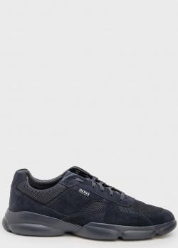 Синие кроссовки Hugo Boss на рельефной подошве, фото