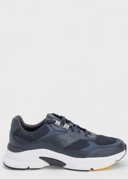 Мужские синие кроссовки Hugo Boss на толстой белой подошве, фото