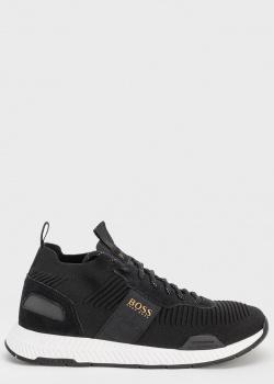 Черные текстильные кроссовки Hugo Boss на белой подошве, фото