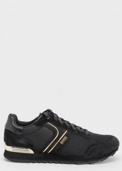 Черные кроссовки Hugo Boss с золотыми полосами, фото