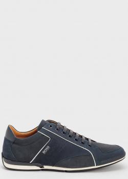 Темно-синие кроссовки Hugo Boss с белыми полосами, фото