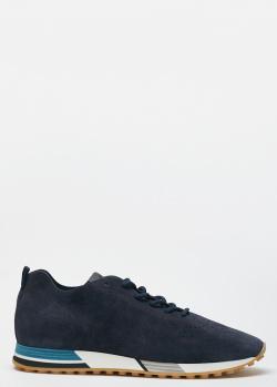 Замшевые мужские кроссовки Hogan H383 синего цвета, фото