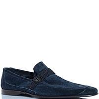 Замшевые туфли FABI синего цвета декорированные ремешком, фото