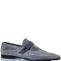 Замшевые туфли FABI серого цвета декорированные ремешком, фото