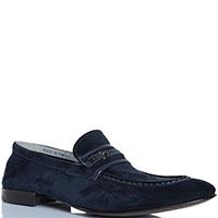 Синие замшевые туфли FABI с декоративным ремешком, фото