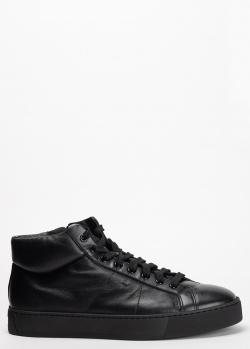 Ботинки черного цвета Santoni из мягкой кожи, фото