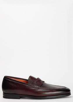 Туфли-лоферы Santoni из гладкой кожи коричневого цвета, фото