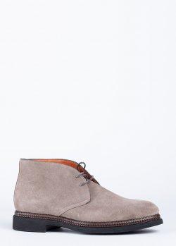 Ботинки Santoni из светло-серой замши, фото