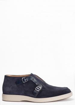 Синие ботинки Santoni с декором-пряжками, фото