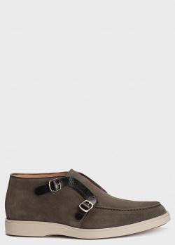 Замшевые ботинки Santoni цвета хаки, фото