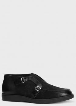 Ботинки на меху Santoni из черного нубука, фото