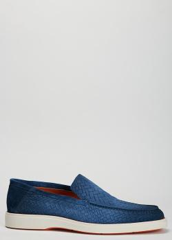 Синие туфли Santoni с эффектом плетения, фото