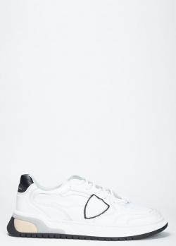 Белые кроссовки Philippe Model с черной пяткой, фото