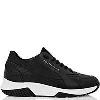 Черные кроссовки Philipp Plein из гладкой кожи, фото