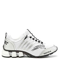Белые кроссовки Philipp Plein Speedster с серебристыми полосами, фото