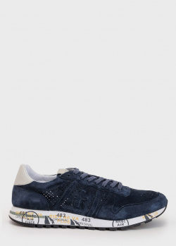Темно-синие кроссовки Premiata с мелкой перфорацией, фото