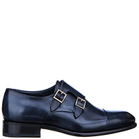 Синие туфли Santoni с двумя пряжками, фото