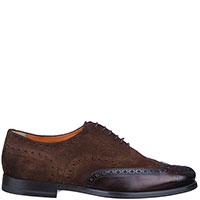 Туфли-броги Santoni из коричневой замши, фото