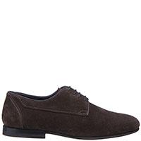 Темно-коричневые туфли Santoni из замши, фото