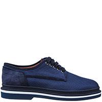 Синие туфли Santoni с белой полосой вдоль подошвы, фото