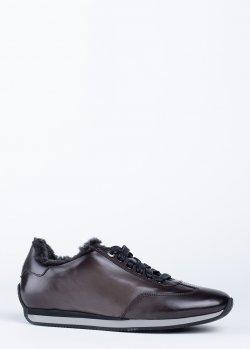 Зимние кроссовки Santoni серого цвета на меху, фото