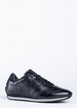 Черные зимние кроссовки Santoni на меху, фото