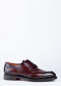 Туфли Santoni из кожи бордового цвета, фото