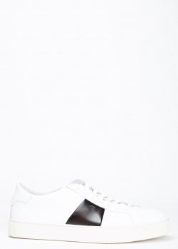 Белые кеды Santoni с черной полосой, фото