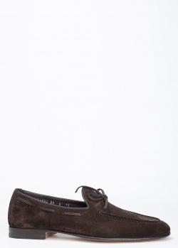 Лоферы Santoni из темно-коричневой замши, фото