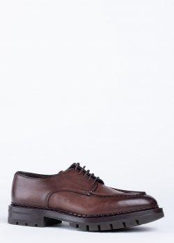 Туфли Santoni из коричневой кожи, фото