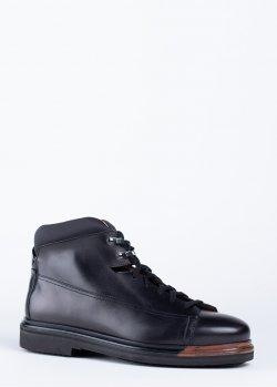 Черные ботинки Santoni на шнуровке, фото