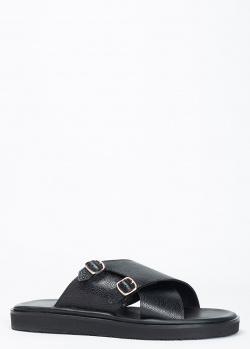 Сандалии Santoni из черной кожи с пряжками, фото