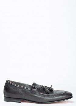 Лоферы Santoni черного цвета с кисточками, фото