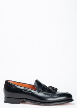 Черные лоферы Santoni из блестящей кожи, фото