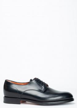 Черные туфли Santoni на шнуровке, фото