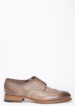Броги Santoni из светло-коричневой кожи, фото